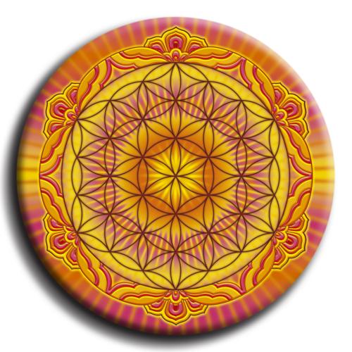 Életvirága - Genezis, teremtés, termékenység mandala - fém hűtőmágnes 6 cm Ø