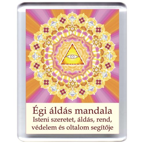 Égi áldás, isteni védelem mandala - hűtőmágnes 5x7cm