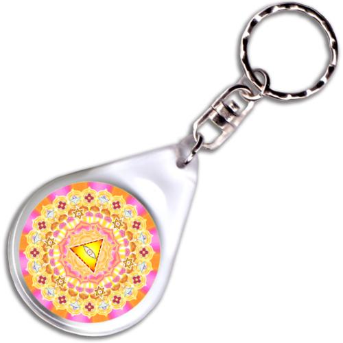 Égi áldás, isteni védelem mandala kulcstartó - 4 cm Ø