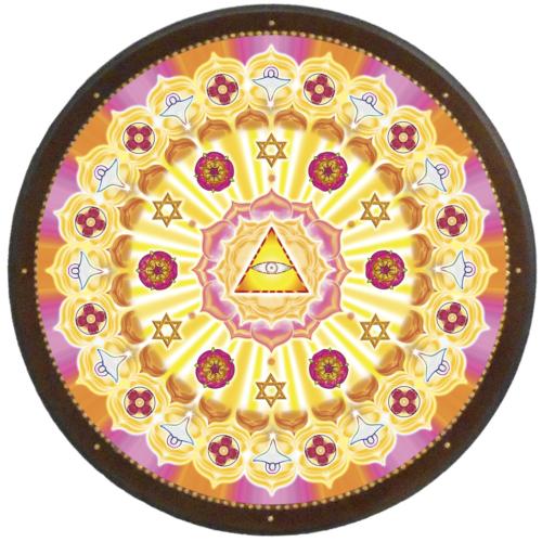 Égi áldás, isteni védelem mandala - kör falikép 38 cm Ø