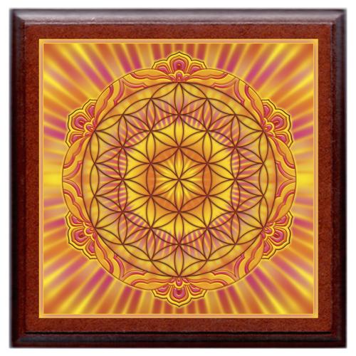 Életvirága - Genezis, teremtés, termékenység mandala - kis falikép 18x18 cm