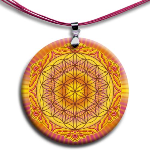 Életvirága - Genezis, teremtés, termékenység mandala - medál 4 cm Ø