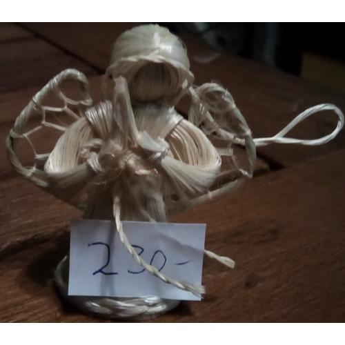Szalma angyalka - 6 cm - karácsonyfadísz