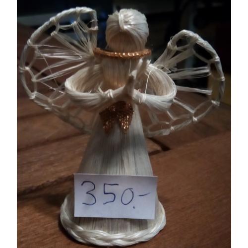 Szalma angyalka - 8 cm - karácsonyfadísz